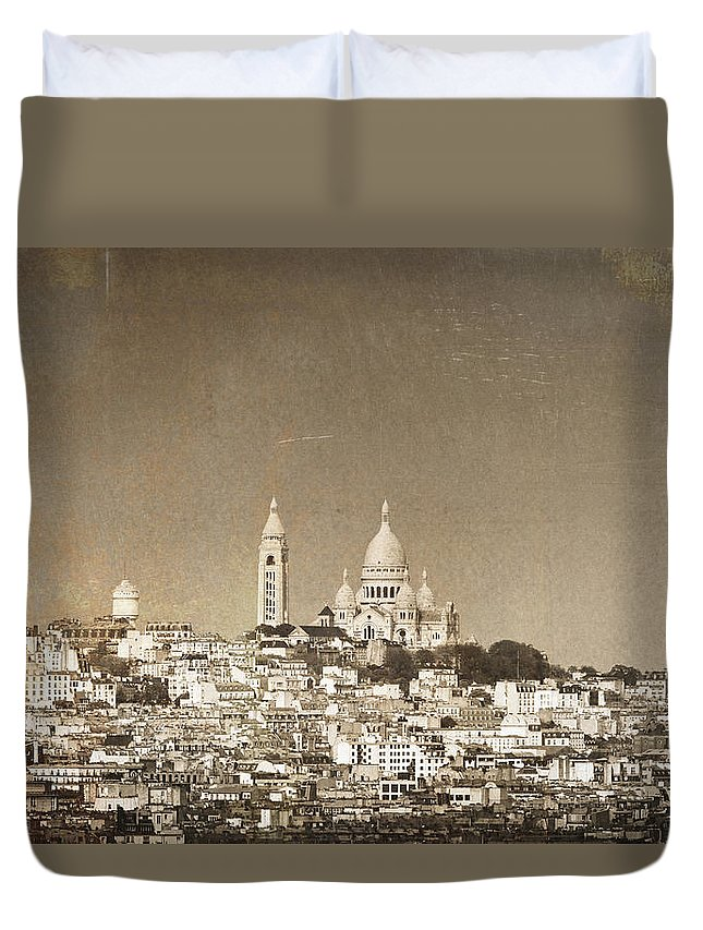 Montmartre Duvet Cover featuring the photograph Sacre Coeur Basilica Of Montmartre In Paris by Dutourdumonde Photography