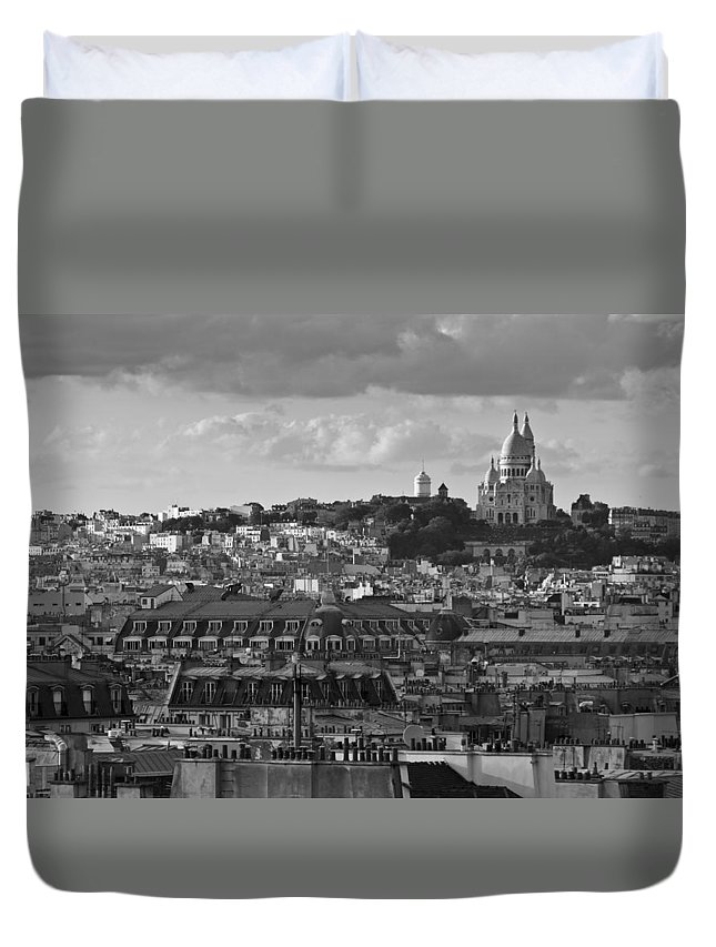 Sacre Coeur Duvet Cover featuring the photograph Sacre Coeur Over Rooftops Black And White Version by Gary Eason
