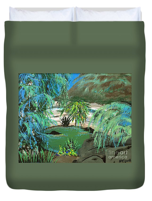 Landscape Duvet Cover featuring the painting Sacred Cenote At Chichen Itza by Alys Caviness-Gober