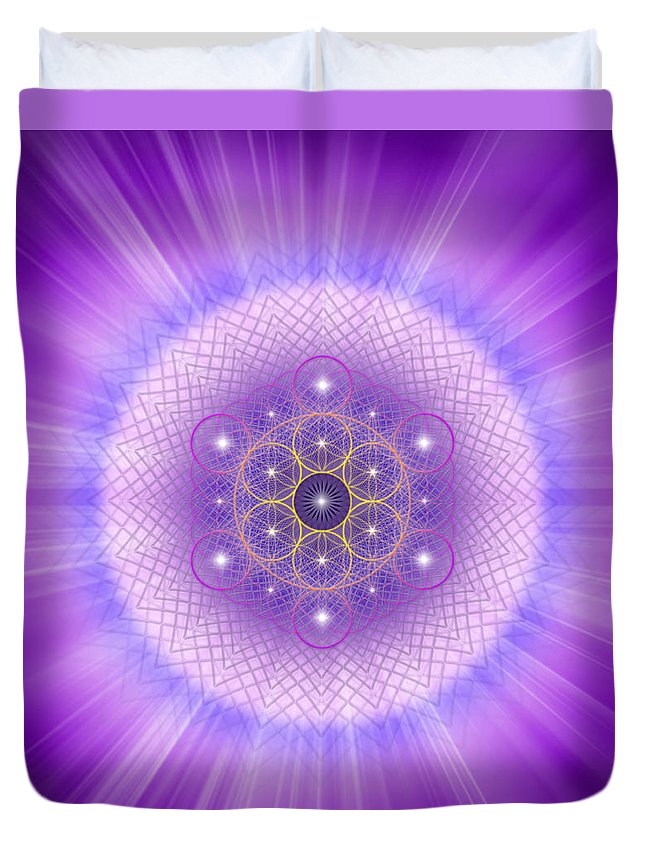 Endre Duvet Cover featuring the digital art Sacred Geometry 185 by Endre Balogh