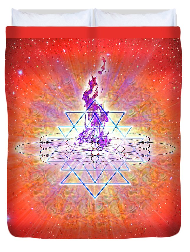 Endre Duvet Cover featuring the digital art Sacred Geometry 73 by Endre Balogh