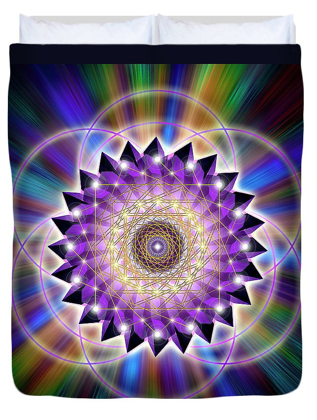 Endre Duvet Cover featuring the digital art Sacred Geometry 74 by Endre Balogh