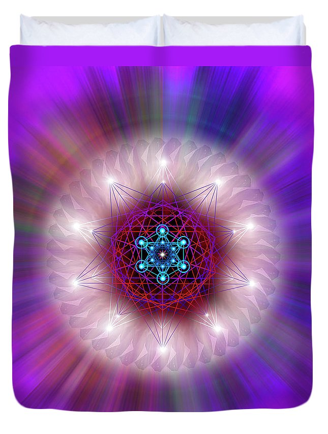 Endre Duvet Cover featuring the digital art Sacred Geometry 76 by Endre Balogh