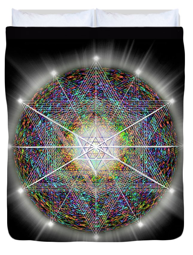 Endre Duvet Cover featuring the digital art Sacred Geometry 89 by Endre Balogh