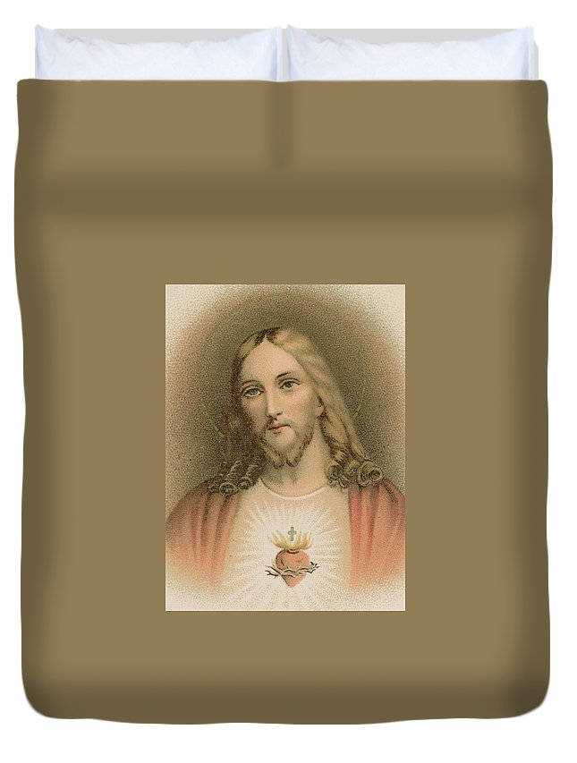 The Sacred Heart Duvet Cover featuring the painting Sacred Heart by French School