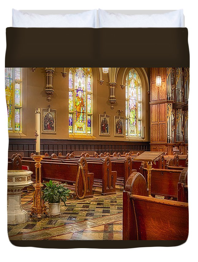 Our Lady Of Mt. Carmel Duvet Cover featuring the photograph Sacred Space - Our Lady Of Mt. Carmel Church by Lindley Johnson