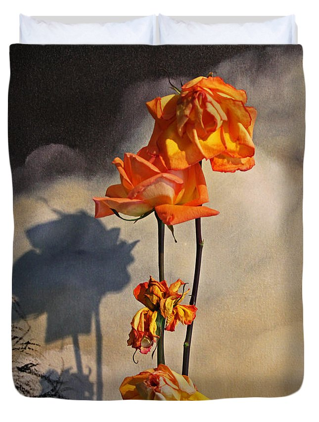Roses Duvet Cover featuring the photograph Sad To See You Go by John Stuart Webbstock