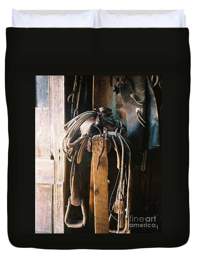 Saddle Duvet Cover featuring the photograph Saddle And Chaps by Judy Bottler