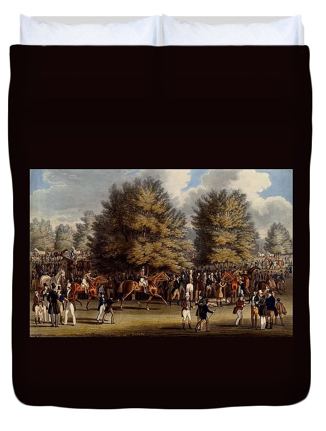 Epsom Duvet Cover featuring the drawing Saddling In The Warren, Print Made by James Pollard