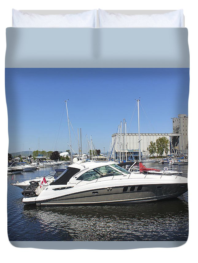 Boats Duvet Cover featuring the photograph Safe Harbor Series 02 by Carlos Diaz