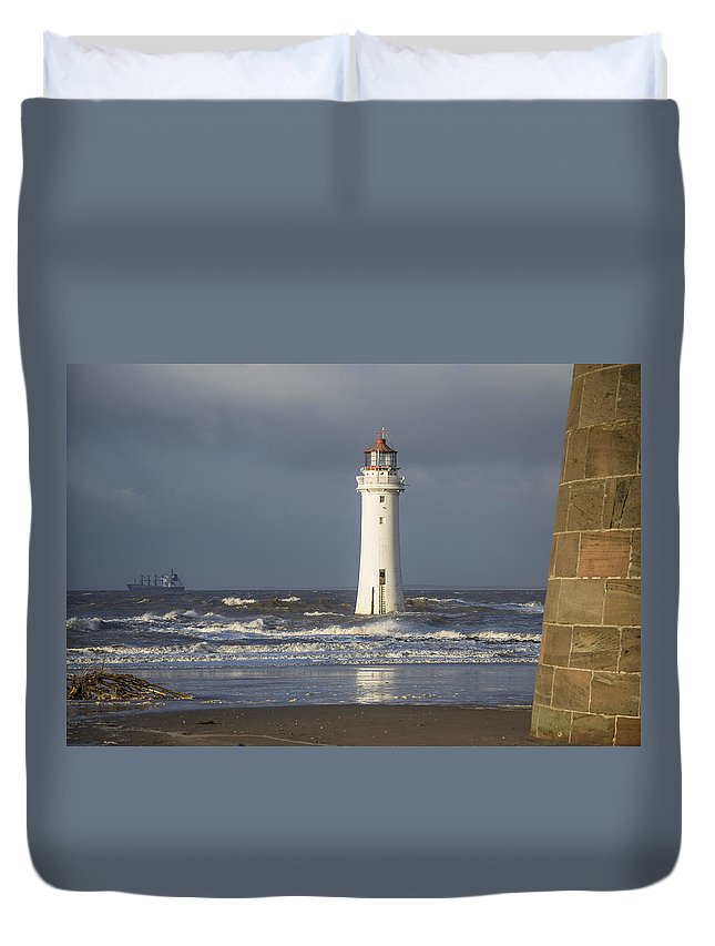Sea Duvet Cover featuring the photograph Safely Past by Spikey Mouse Photography