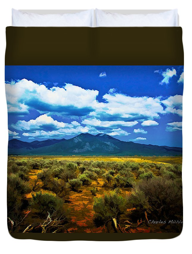 Sage Duvet Cover featuring the mixed media Sage by Charles Muhle