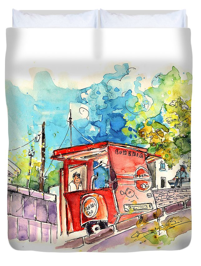 Portugal Duvet Cover featuring the painting Sagres Beer Stand in Barca de Alva in Portugal by Miki De Goodaboom