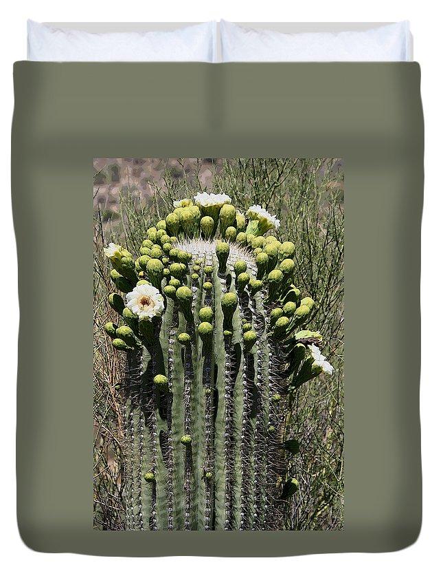 Saguaro Duvet Cover featuring the photograph Saguaro In Bloom by Joe Kozlowski