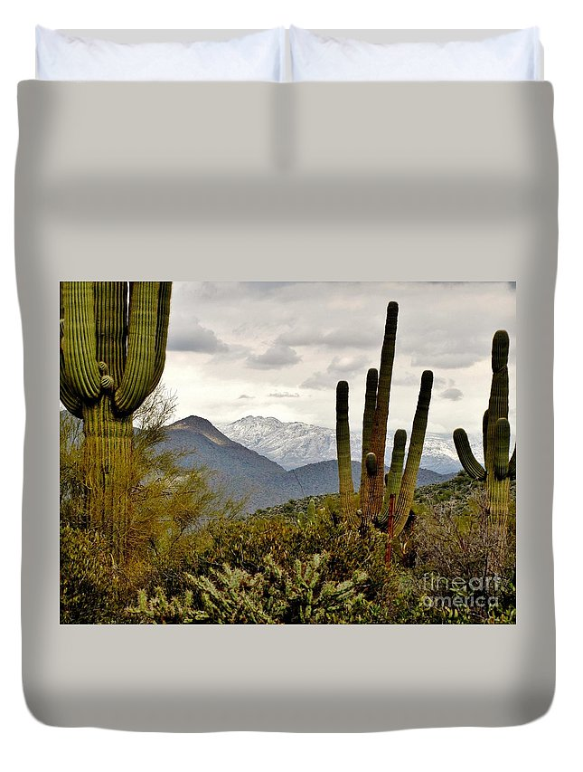 Saguaro Duvet Cover featuring the photograph Saguaro Sentinels by Marilyn Smith