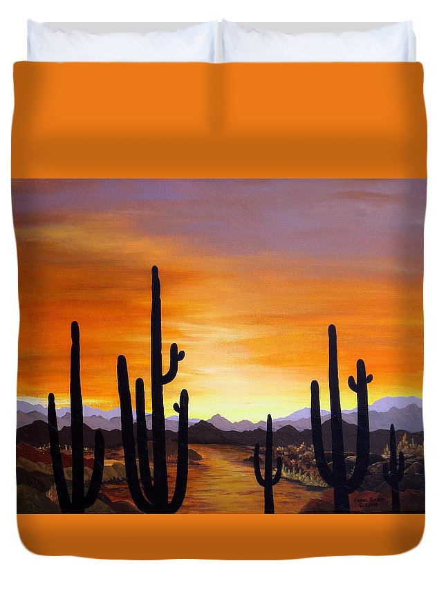 Acrylic Duvet Cover featuring the painting Saguaro Sunset by Carol Sabo