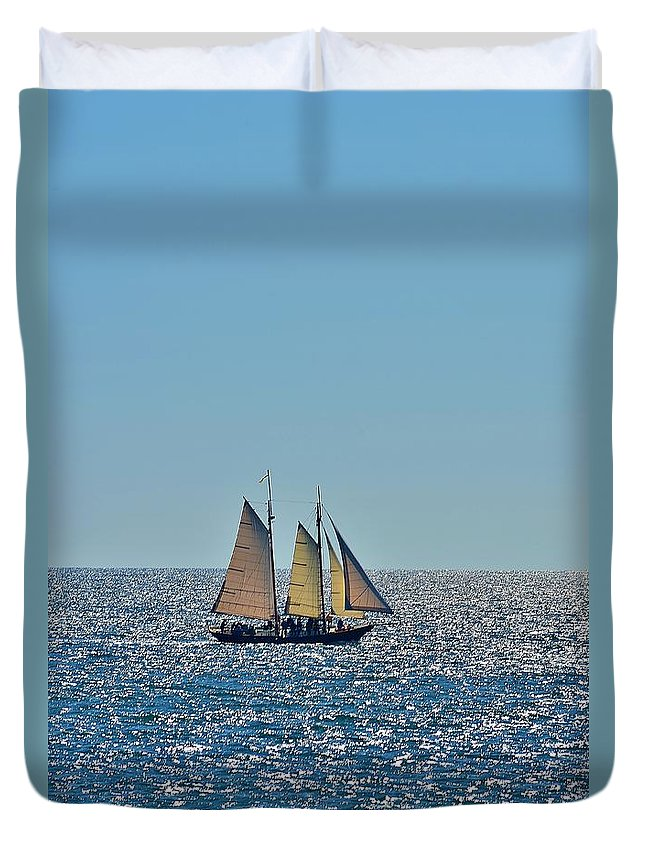 Photograph Duvet Cover featuring the photograph Sail Away by Anne Clark