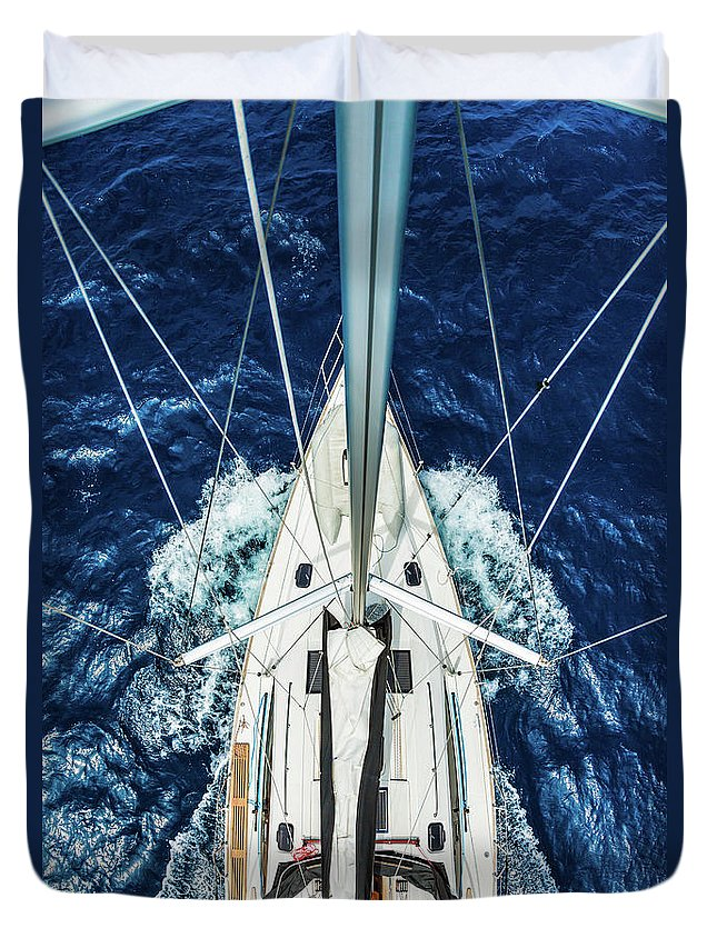 Adriatic Sea Duvet Cover featuring the photograph Sailboat From Above by Mbbirdy