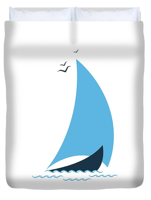 Curve Duvet Cover featuring the digital art Sailboat In The Sea. Concept For The by Liubov Trapeznykova