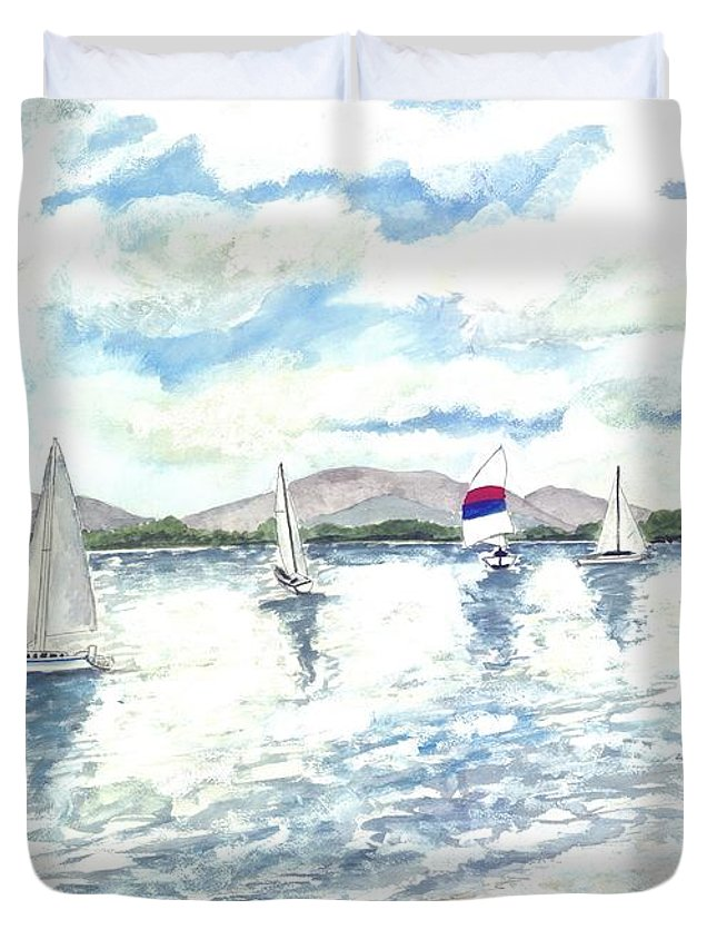 Sailboats Duvet Cover featuring the painting Sailboats by Derek Mccrea