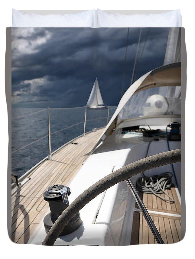Adriatic Sea Duvet Cover featuring the photograph Sailboats In Mediterranean Sea by Vuk8691