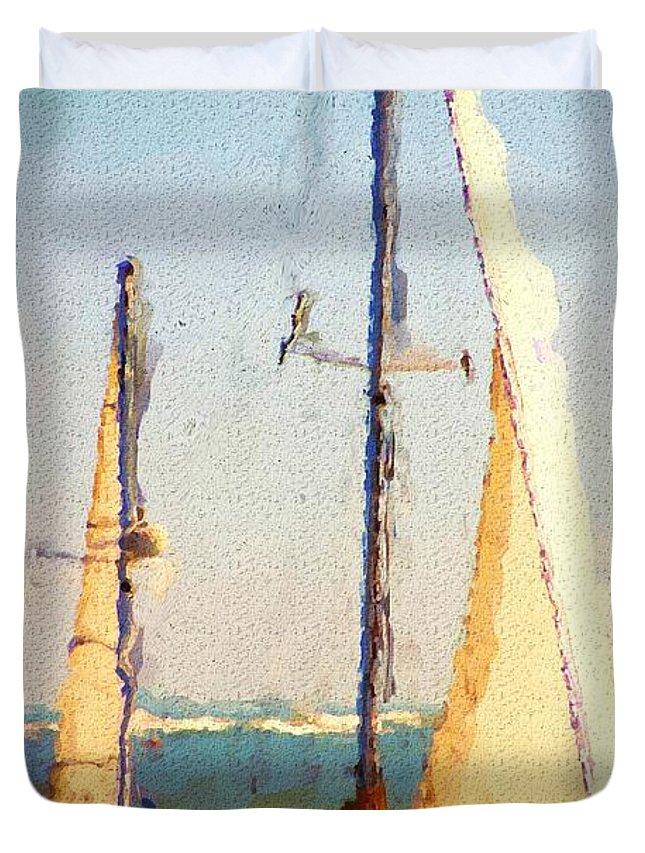 Digital Art Duvet Cover featuring the digital art Sailing At Daytona by David Lane
