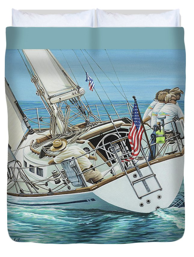 Ocean Duvet Cover featuring the painting Sailing Away by Jane Girardot