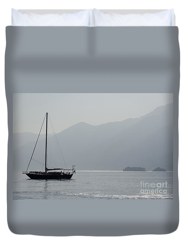 Sailing Boat Duvet Cover featuring the photograph Sailing Boat With Islands by Mats Silvan