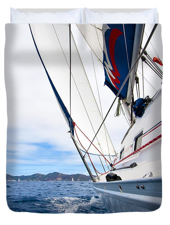 3scape Duvet Cover featuring the photograph Sailing Bvi by Adam Romanowicz