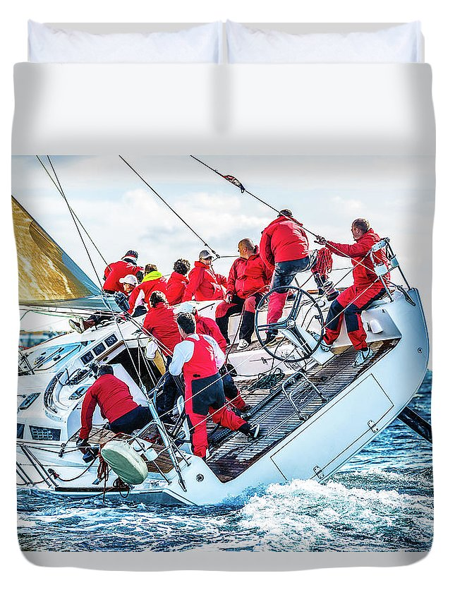 Adriatic Sea Duvet Cover featuring the photograph Sailing Crew On Sailboat During Regatta by Mbbirdy