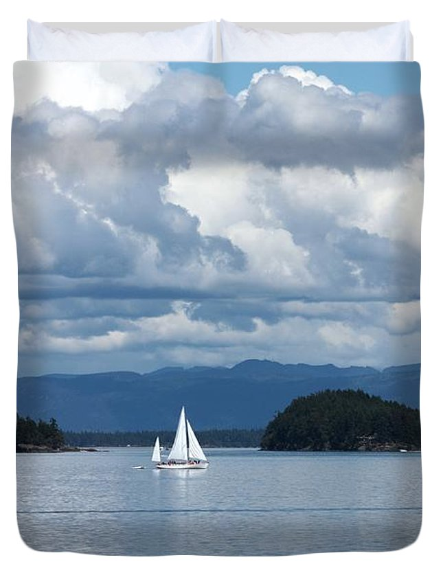 Nautical Duvet Cover featuring the photograph Sailing In The San Juans by Carol Groenen