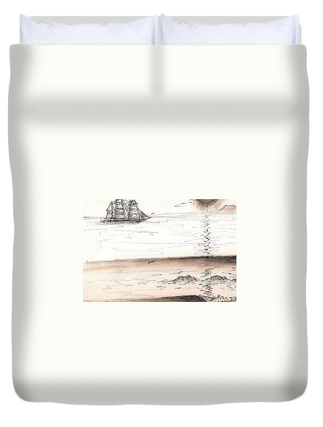 Sailingprint Duvet Cover featuring the drawing Sailing Into The Past by Paul Carter