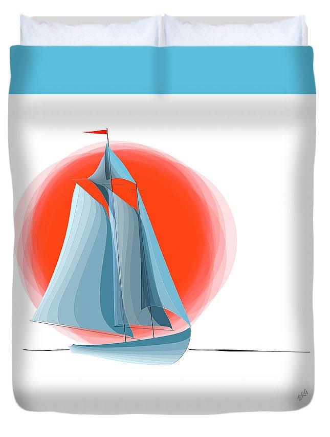Yachting Duvet Cover featuring the digital art Sailing Red Sun by Ben and Raisa Gertsberg