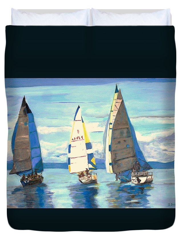 Seascape Duvet Cover featuring the painting Sailing Regatta At Port Hardy by Teresa Dominici