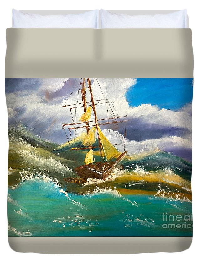 Nature Duvet Cover featuring the painting Sailing Ship In A Storm by Pamela Meredith