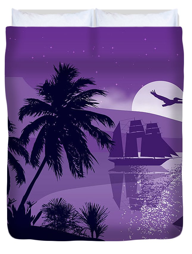 Landscape Duvet Cover featuring the painting Sailing Ship With Sea Birds by Tim Gilliland