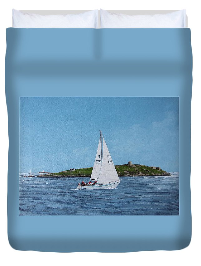 Sailing Duvet Cover featuring the painting Sailing Through Dalkey Sound by Tony Gunning