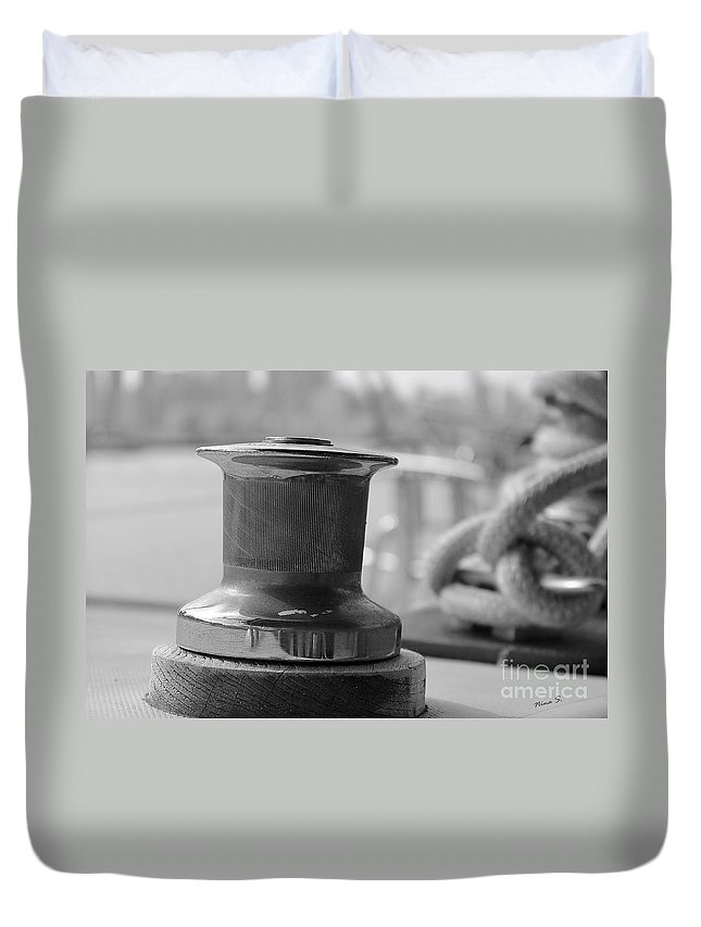 Sailing Duvet Cover featuring the photograph Sailing Winch by Nina Silver