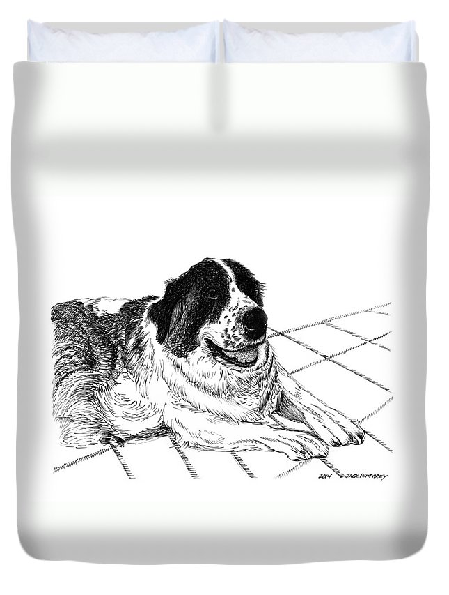 The Saint Bernard Did In Fact Rescue People From The Cold Duvet Cover featuring the drawing Saint Bernard Bailey by Jack Pumphrey
