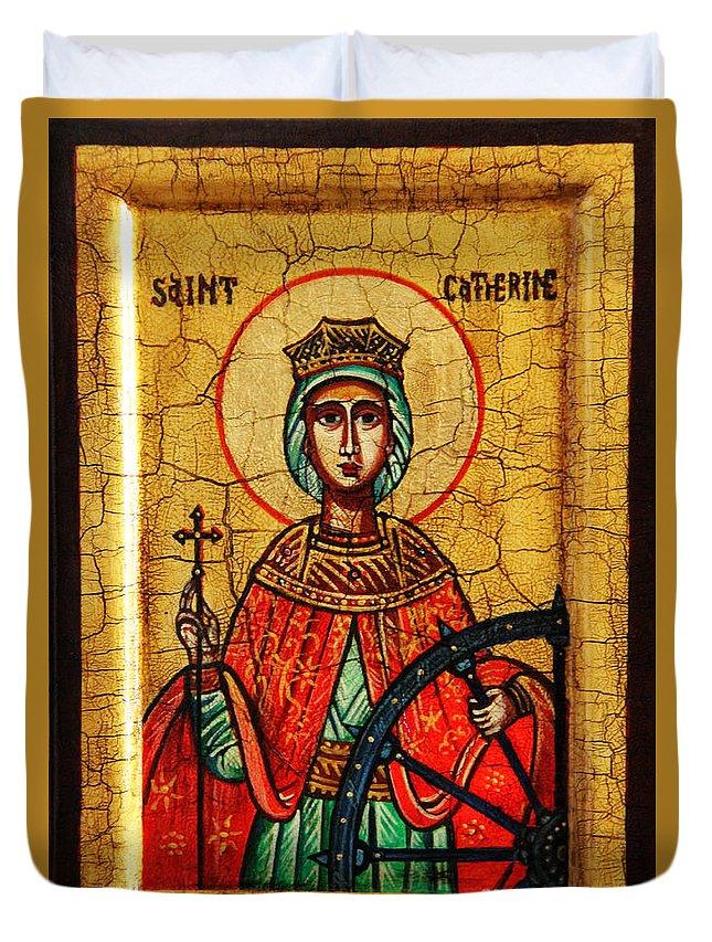 Saint Catherine Icon Duvet Cover featuring the painting Saint Catherine Of Alexandria Icon by Ryszard Sleczka