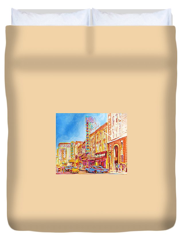 Paintings Of Montreal Duvet Cover featuring the painting Saint Catherine Street Montreal by Carole Spandau