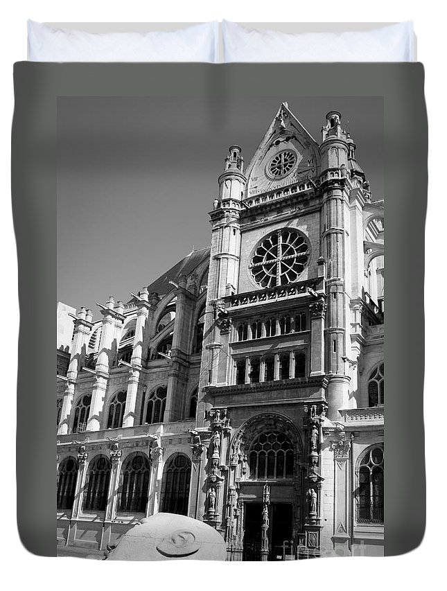 Europe Duvet Cover featuring the photograph Saint-eustache And Sculpture Of Head by Lana Enderle