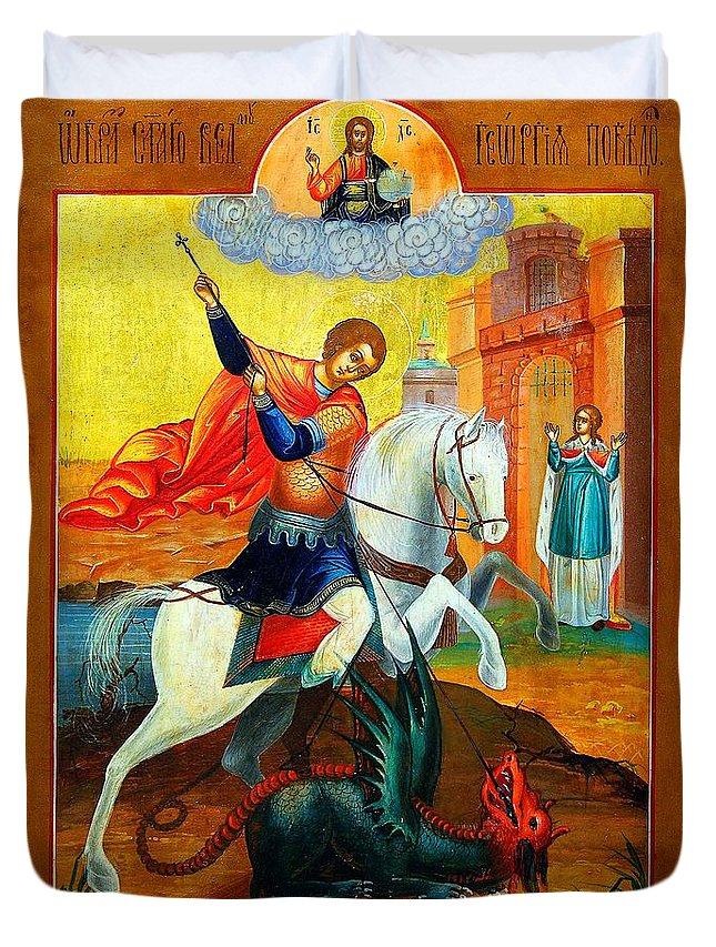 Saint George Icon Duvet Cover featuring the photograph Saint George by Munir Alawi