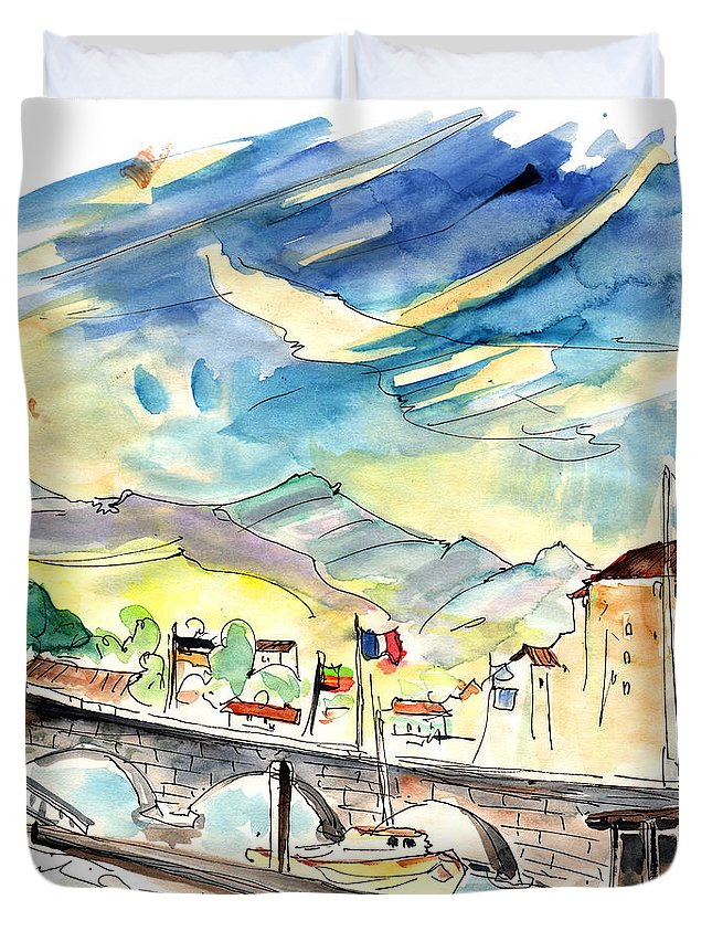 Travel Duvet Cover featuring the painting Saint-Jean-de-Luz 03 by Miki De Goodaboom