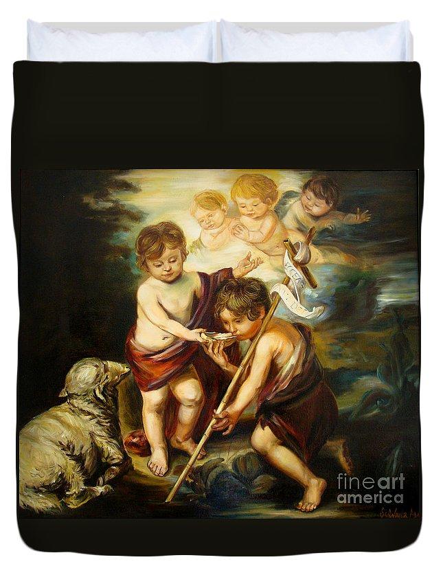Classic Art Duvet Cover featuring the painting Saint John Baptist by Silvana Abel
