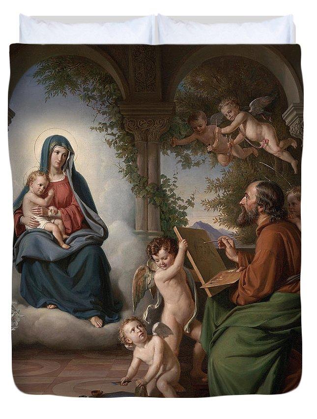 Christ Duvet Cover featuring the painting Saint Luke by Theobald Reinhold Freiherr von Oer