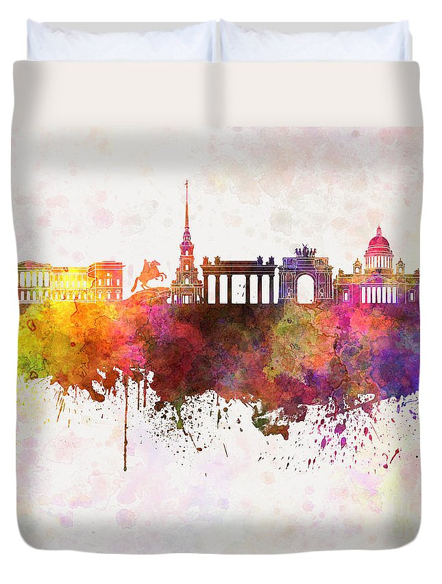 Saint Petersburg Skyline Duvet Cover featuring the painting Saint Petersburg Skyline In Watercolor Background by Pablo Romero