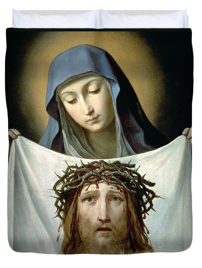 Son Of God Duvet Cover featuring the painting Saint Veronica by Guido Reni