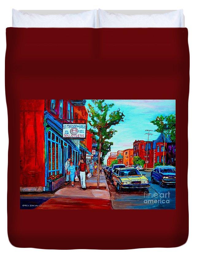 St.viateur Bagel Shop Duvet Cover featuring the painting Saint Viateur Bagel Shop by Carole Spandau
