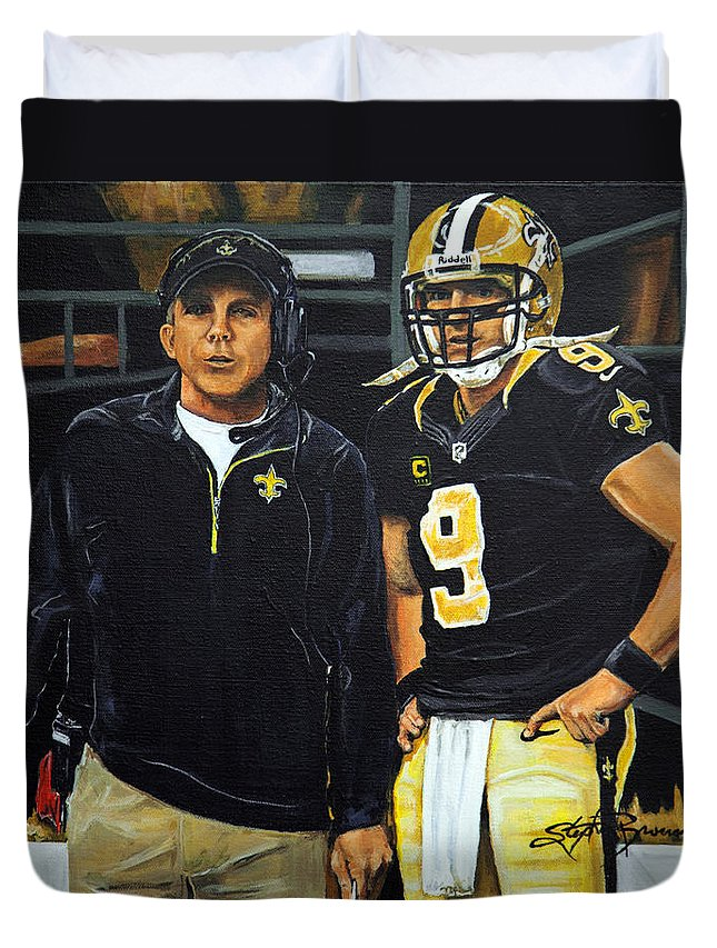 New Orleans Saints Duvet Cover featuring the painting Saints Dynamic Duo by Stephen Broussard